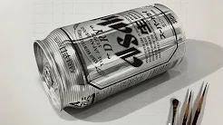 鉛筆画_スーパードライ缶